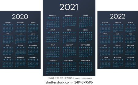 English calendar 2010-2021-2022 vector template text is outline font Avant-Garde and Athelas