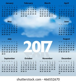 English Calendar for 2017 year with clouds in the blue sky. Best for print, web design and presentations. Copy space for text, messages or signs. Sundays first. Vector illustration