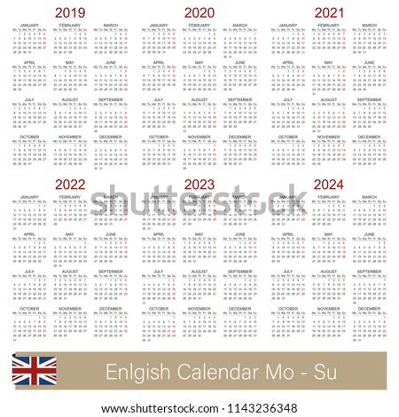 English Calendar 2019 2024 Week Starts Stock Vector Royalty Free
