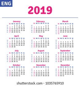 English calendar 2019, horizontal calendar grid, vector