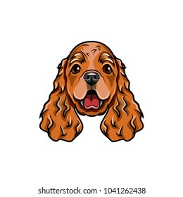 English cocker spaniel head. Vector illustration isolated on white background.