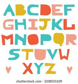 English colorful uppercase paper cut alphabet. Cutout letters. Vector script. ABC letters imitating paper font. Education alphabet, paper design, cut out by scissors from paper.