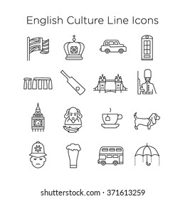 English Culture Icons, Culture Signs of Britain, Traditions of Unated Kingdom, English Life, National Objects of England, British Line Icons, Stroke Icons, UK Culture Line Icons