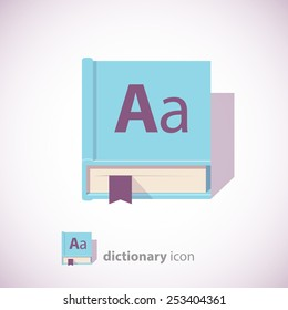 English Dictionary Icon, Blue Color, Isolated on White Background. Vector illustration.