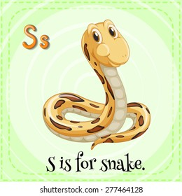 English flashcard letter S is for snake