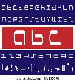 English font set. Alphabet, numbers and symbols on blue and red background. Font type in colors of USA.