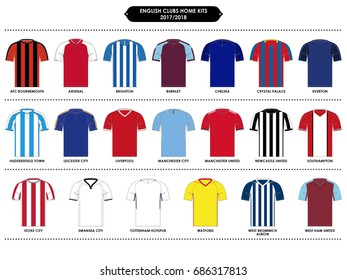 English Football Clubs // Home Kits // 2017 - 2018