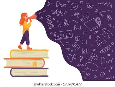 English. Girl on stack of books talking to megaphone with language doodle on white background. Female speaker. Teaching, translating, learning, education concept
