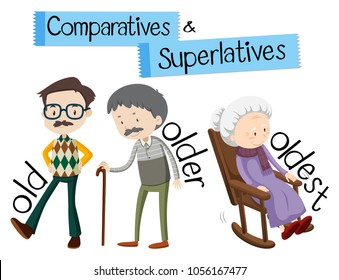 English grammar for comparatives and superlatives with word old illustration