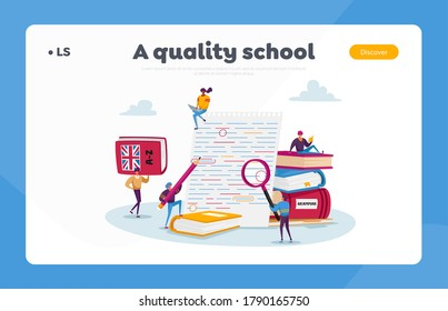 English Grammar Examination Landing Page Template. Tiny Characters Correct Mistakes and Errors in Test Written on Huge Paper. Fail Exam Results, Incorrect Answers. Cartoon People Vector Illustration