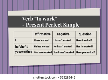 "English grammar - verb ""to work"" in Present Perfect Simple Tense. Flat style"