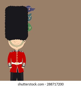 English guard (an Englishman) is on duty. Funny birds sitting in his cap. Background