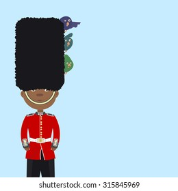 English guard beefeater (black man) is on duty. Funny birds sitting in his cap. Background
