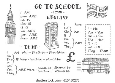 English. Hand sketches on the theme of english. Vector illustration.