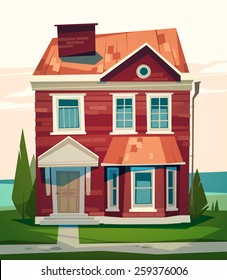 English house facade. Vector illustration.