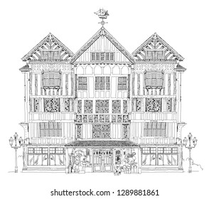 English house. Traditional architecture of the 18th century based of medieval tradition. Sketch collection.