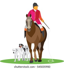 English hunter on horse with dogs