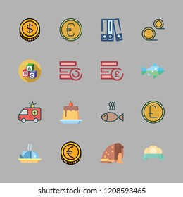 english icon set. vector set about coin, coins, blinder and fish icons set.