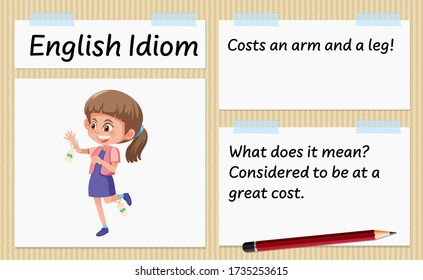 English idiom costs an arm and a leg template illustration