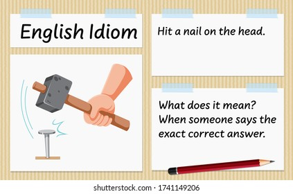 English idiom hit a nail on the head template illustration