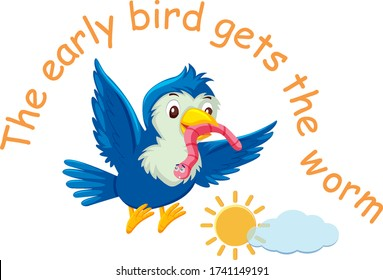 English idiom with picture description for early bird gets the worm on white background illustration
