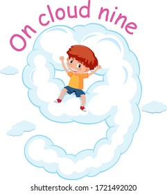 English idiom with picture description for on cloud nine on white background illustration