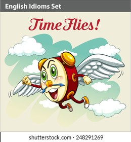 An English Idiom showing a clock flying