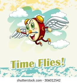 English idiom time flies illustration