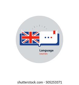 English language courses advertising concept. Fluent speaking foreign language. Advertising concept lingual classes. Flat design vector illustration