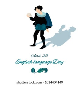 English Language Day card with Hamlet. Vector illustration.