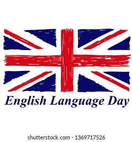 English Language Day with flag of Britain in grunge style