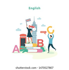 English language lesson in school. Idea of education and knowledge. Foreign language class. Isolated vector illustration in flat style