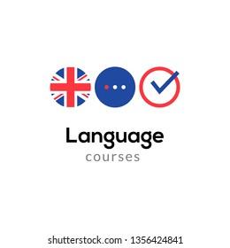 English language school logo course concept. Vector english speak fluent course design.