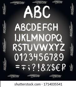 English, latin abc, alphabet chalk vector isolated on black background. Concept for menu, cards, invitation