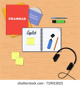 English learning concept. Flat vector illustration banner. Books, copybook, pencil, pen, stickers, headphones, markers and disk with audio lessons on the table.