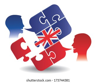 English lesson dialog Two students and Puzzle bubble talk with a British flag symbolizing English conversation.Vector illustration
