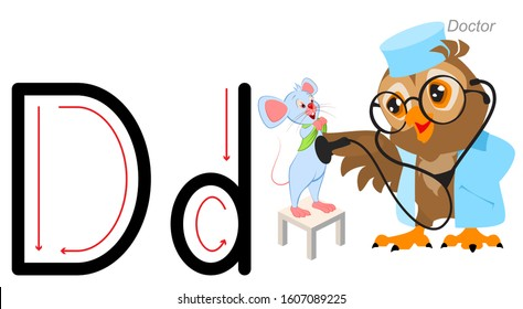 English letter abc alphabet. Owl doctor treat mouse. Isolated on white vector cartoon illustration