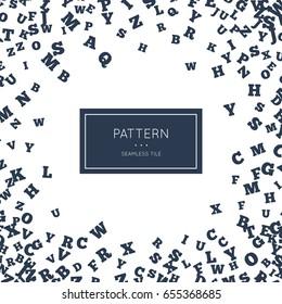 English letter pattern. Vector illustration for minimalistic alphabet design. Style language abstract background decoration. Modern elegant wallpaper with border frame. White black vintage color