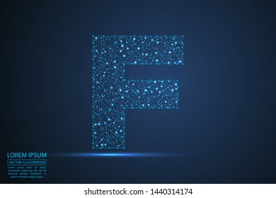 English letters abstract font consists 3d of triangles, lines, dots and connections. On a dark blue background cosmic universe stars, meteorites, galaxies. Vector illustration EPS 10.