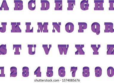 English letters and numbers have three-dimensional shadows.