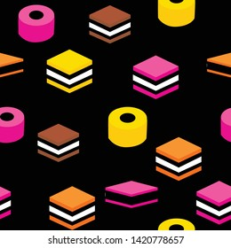 English Licorice Seamless Pattern Colorful Candy Repeat Pattern Background for Textile Design, Fabric Printing, Stationary, Packaging or Background