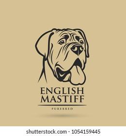 English mastiff dog - isolated outlined vector illustration