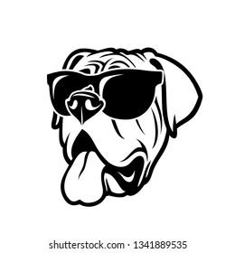 English mastiff dog wearing sunglasses - isolated outlined vector illustration