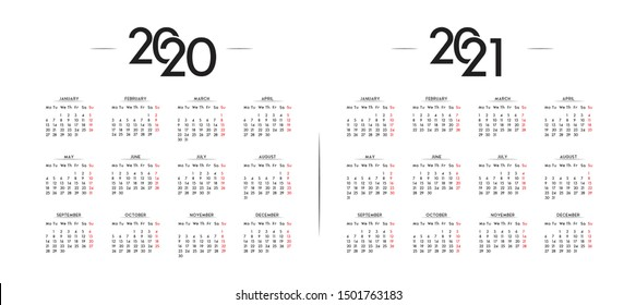 English Minimalist Calendar Year 2020 and 2021 Vector Template