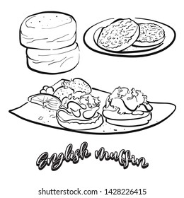 English muffin food sketch on chalkboard. Vector drawing of Yeast bread, usually known in United Kingdom. Food illustration series.