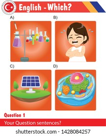 English – multiple choice, eps, vector, different design, new, test tube set, smallpox, girl, solar panel, human cell