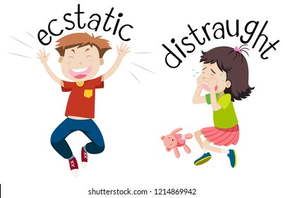 English opposite word of ecstatic and distraught illustration