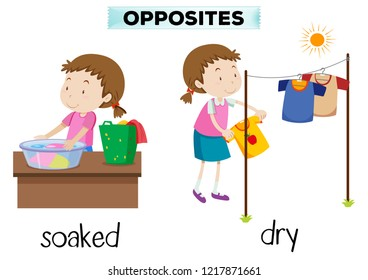 English opposite word soaked and dry illustration