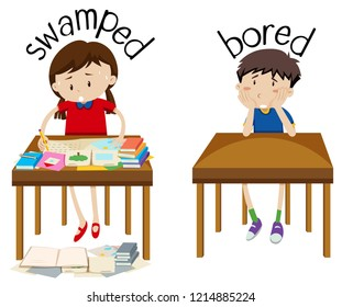 English opposite word swamped and bored illustration
