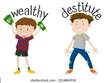 English opposite word of wealthy and destitute illustration